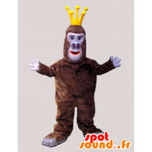 Μασκότ πίθηκος καφέ γορίλα με ένα στέμμα - MASFR033058 - Πίθηκος Μασκότ