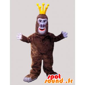 Mascotte de singe gorille marron avec une couronne - MASFR033058 - Mascottes Singe