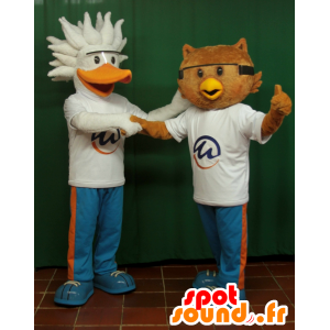 2 Maskottchen, ein Pelikan Vogel und Eule - MASFR033064 - Maskottchen der Vögel