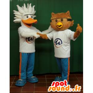 2 maskotteja, pelikaani lintu ja pöllö - MASFR033064 - maskotti lintuja