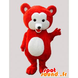 κόκκινο μασκότ αρκουδάκι και απαλό λευκό - MASFR033065 - Αρκούδα μασκότ
