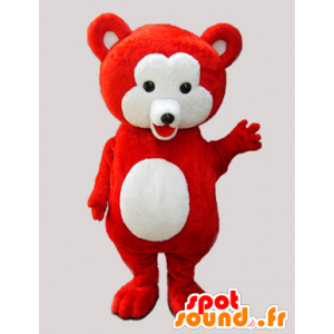 Red teddy mascot and soft white - MASFR033065 - Bear mascot