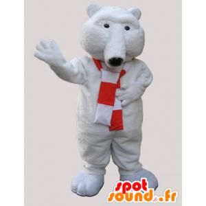 La mascota del oso blanco suave con una bufanda - MASFR033066 - Oso mascota