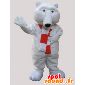 Mascotte d'ours blanc tout doux avec une écharpe - MASFR033066 - Mascotte d'ours