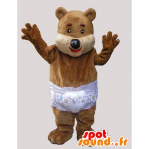 Mascotte de nounours marron avec une couche - MASFR033067 - Mascotte d'ours