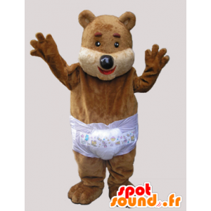 Brun teddy maskot med et sjikt - MASFR033067 - bjørn Mascot