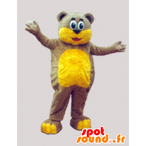 茶色のテディベアのマスコットと黄色ソフト - MASFR033068 - ベアマスコット
