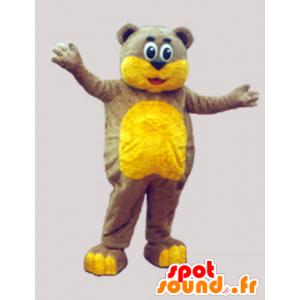 Brun teddy maskot og myk gul - MASFR033068 - bjørn Mascot