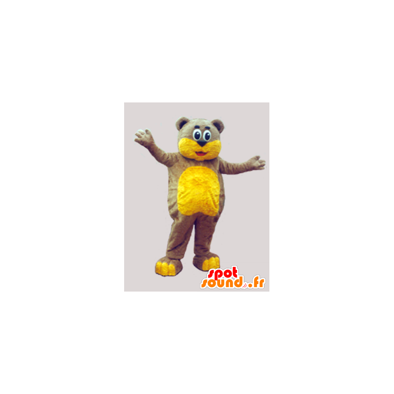 Hnědý plyšový maskot a měkké žluté - MASFR033068 - Bear Mascot