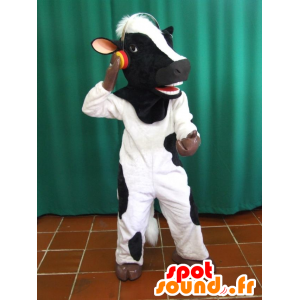 Schwarzweiss-Kuh-Maskottchen mit Kopfhörer - MASFR033070 - Maskottchen Kuh