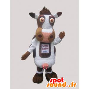 λευκό χαριτωμένο αγελάδα μασκότ και καφέ - MASFR033071 - Μασκότ αγελάδα