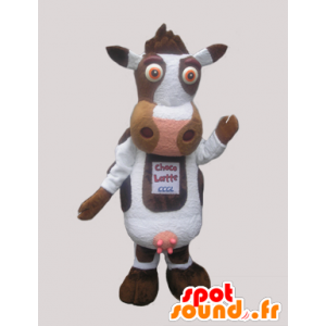 White cute cow mascot and brown - MASFR033071 - Mascot cow