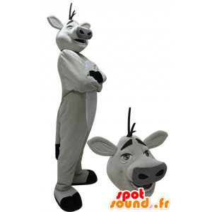 Weiße und schwarze Riese Kuh Maskottchen - MASFR033073 - Maskottchen Kuh