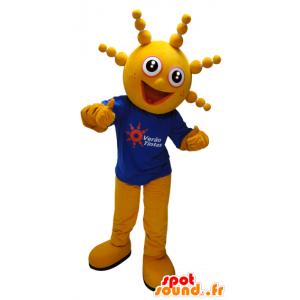 Gelb Schneemann Maskottchen den lustigen runden Kopf - MASFR033075 - Menschliche Maskottchen