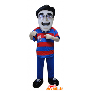 Man mascot wearing a striped polo shirt and glasses - MASFR033076 - Human mascots