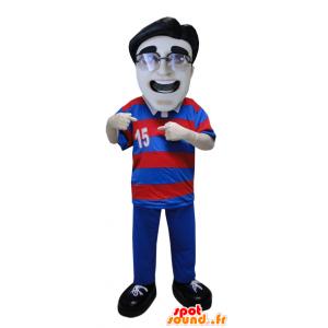 L'uomo mascotte indossa una polo a righe e occhiali - MASFR033076 - Umani mascotte