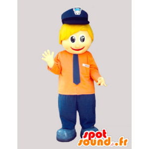 Mascot small blond man with a cap and a tie - MASFR033077 - Human mascots