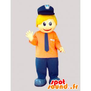 Mascotte de petit bonhomme blond, avec un képi et une cravate - MASFR033077 - Mascottes Homme