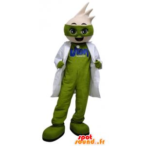 Vihreä mies maskotti kanssa valkoinen takki - MASFR033078 - Mascottes Homme