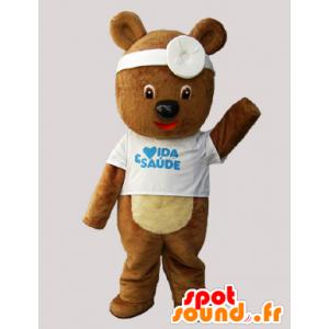 Mascotte de nounours, d'ourson marron déguisé en docteur - MASFR033079 - Mascotte d'ours