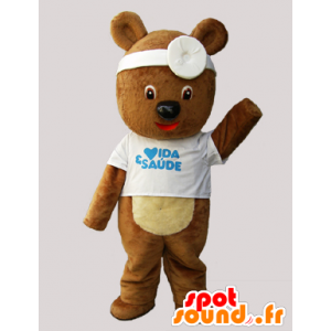 Teddy mascot, disguised as a doctor brown bear - MASFR033079 - Bear mascot
