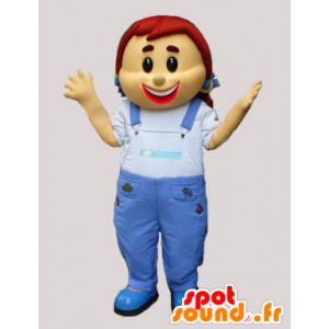 Mascotte de fillette en salopette en jean - MASFR033080 - Mascottes Garçons et Filles