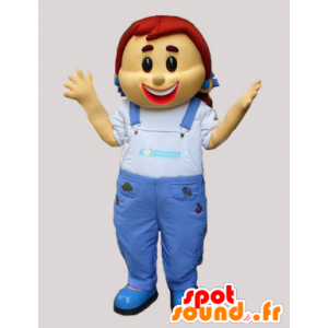 Mascotte girl in denim overalls - MASFR033080 - Mascots boys and girls