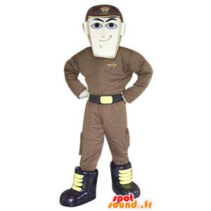 Mascot man futuristic holding superhero mascot - MASFR033081 - Human mascots
