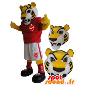 Mascota de tigre amarillo en ropa deportiva - MASFR033082 - Mascota de deportes