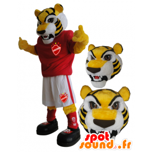 Yellow tiger mascot in sportswear - MASFR033082 - Sports mascot
