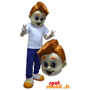 Mascot jongen, tiener, gekleed in blauw en wit - MASFR033083 - Mascottes Boys and Girls