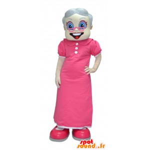 Mascot old lady, grandmother dressed in pink - MASFR033086 - Mascots woman
