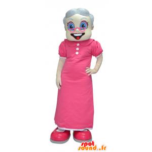 Maskot gammel dame, bedstemor klædt i lyserødt - Spotsound