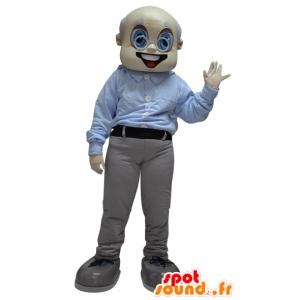 Mascotte de vieil homme, de grand-père, habillé en gris et blanc - MASFR033087 - Mascottes Homme