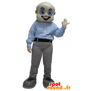 Old Man Mascot, bestefar, kledd i grått og hvitt - MASFR033087 - Man Maskoter