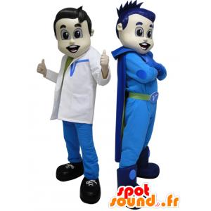 2 Maskottchen. Ein Superheld in blau und futuristische Arzt
