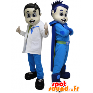 2 mascots. A superhero in blue and futuristic doctor - MASFR033088 - Superhero mascot