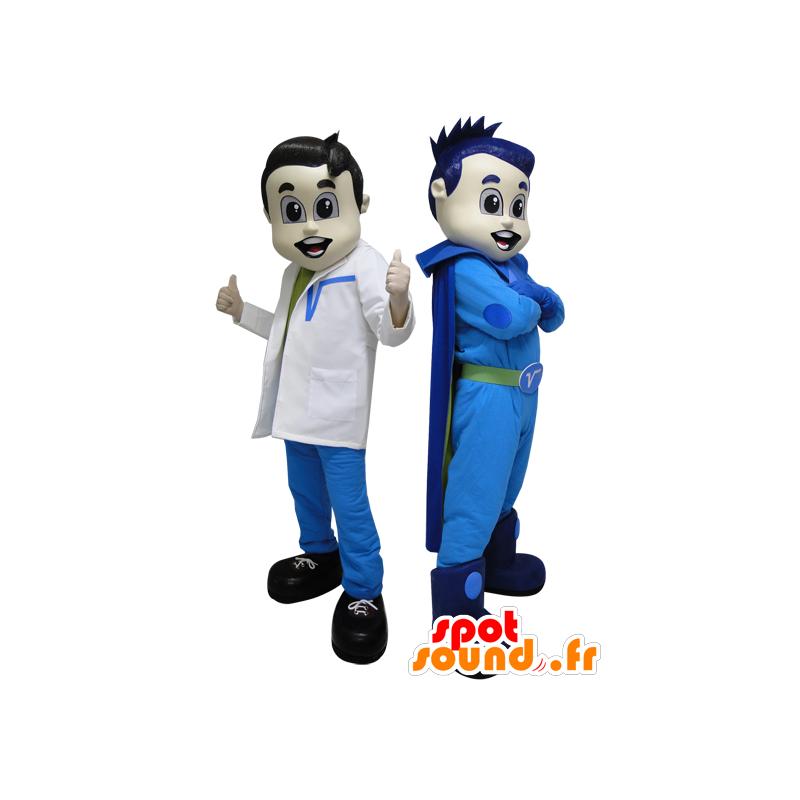 2 maskoter. En superhelt i blått og futuristisk lege - MASFR033088 - superhelt maskot