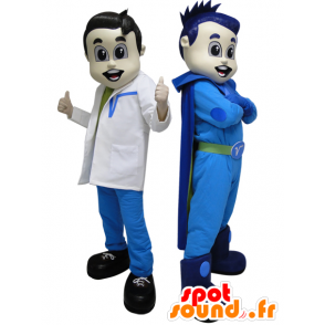 2 mascotas. Un superhéroe en azul médico y futurista - MASFR033088 - Mascota de superhéroe