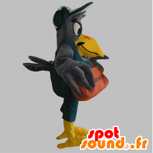 Mascot gray and yellow giant bird with a bag - MASFR033089 - Mascots of objects