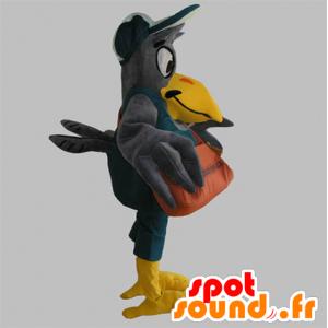 Mascotte d'oiseau géant gris et jaune avec une sacoche - MASFR033089 - Mascottes d'objets