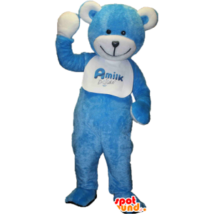 Teddy mascot, blue and white teddy bear - MASFR033091 - Bear mascot