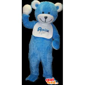Teddy maskot, blå og hvit bamse - MASFR033091 - bjørn Mascot