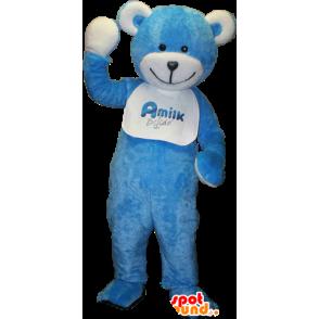 Teddy mascot, blue and white teddy bear - MASFR033091 - Bear mascot