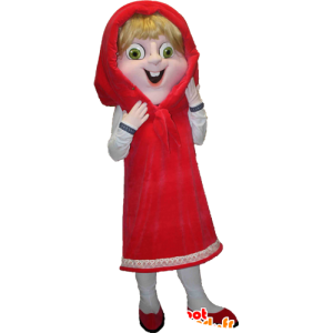Red Riding Hood Maskottchen blond mit grünen Augen - MASFR033092 - Menschliche Maskottchen