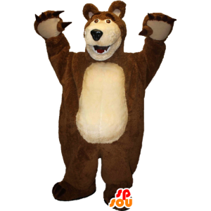 Mascotte d'ours géant marron et beige - MASFR033093 - Mascotte d'ours