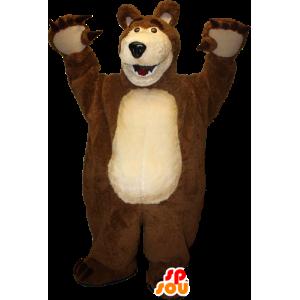 Bjørn Mascot brunt og beige gigant - MASFR033093 - bjørn Mascot