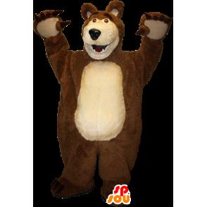 Αρκούδα μασκότ καφέ και μπεζ γίγαντα - MASFR033093 - Αρκούδα μασκότ