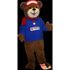 της καφέ αρκούδας μασκότ με ένα μπλε πουλόβερ και κασκόλ - MASFR033094 - Αρκούδα μασκότ