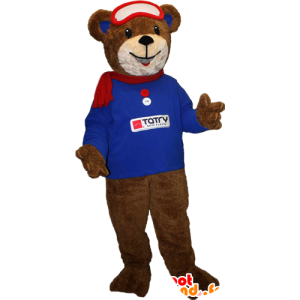 Mascota del oso de color marrón con un suéter azul y bufanda - MASFR033094 - Oso mascota